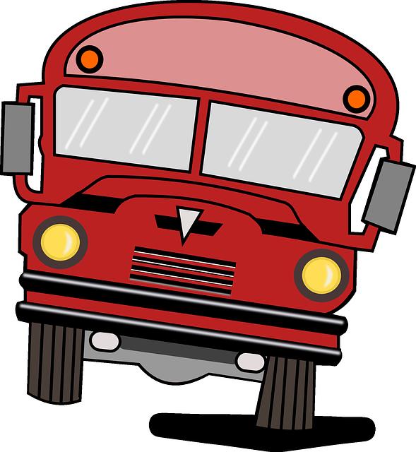 Karikatur Eines Alten Schulbusses